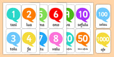 Numbers in Samoan Flashcards