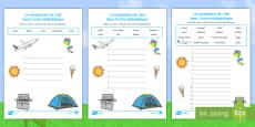 Feuille d'activités : Le vocabulaire de l'été dans l'ordre alphabétique