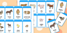 Mothers and their Young Farm Animals Flash Cards Arabic Translation