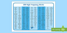 200 High Frequency Words Word Mat