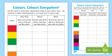 Colours, Colours Everywhere! Outdoor Activity Sheet