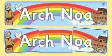 Noah's Ark Display Banner Welsh