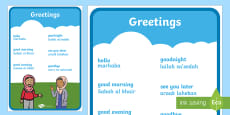 Greetings A4 Display Poster Phonetic English/Arabic