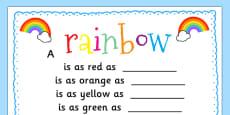 Rainbow Simile Poem Writing Template