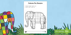 Elmer Colour by Number Sheet French
