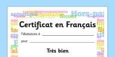 English Award Certificate French