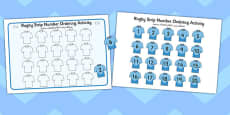 Rugby Strip Number Ordering Activity Arabic Translation