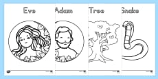 Adam and Eve Creation Story Colouring Sheets