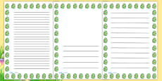 Striped Easter Egg Portrait Page Borders