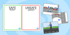 Crossing The Road Safe And Unsafe Sorting Cards Romanian Translation