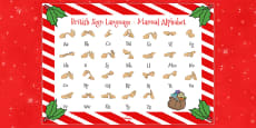 Christmas Themed British Sign Language Alphabet Mats