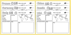 Passport to the World Writing Frames