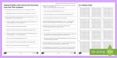 Solving Problems with Horizontal and Vertical Lines and Their Equations Activity Sheets