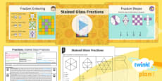 PlanIt Y4 Fractions Problem Solving (1) Lesson Pack Stained Glass Fractions