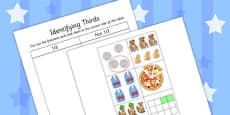 Identifying Thirds Cut and Stick Activity Sheet