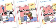 Mondrian Themed Editable Square Classroom Area Signs (Plain)