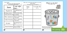 What's In The Rubbish? Making Inferences Activity Romanian Translation