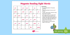 Magenta Reading Sight Words Board Game
