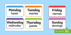 * NEW * Days of the Week Flashcards English/Spanish
