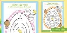 Easter Egg Shaped Mazes English/Italian