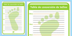 Shoe Shop Role Play Foot Measuring Chart Spanish
