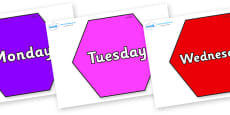 Days of the Week on Hexagons
