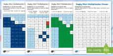 Rugby Shirt Multiplication Mosaics Activity Sheets