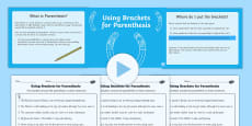 Using Brackets for Parenthesis Lesson Teaching Pack
