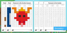 * NEW * Treasures in the Garden Addition Maths Mosaic Activity Sheets