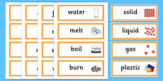 Solids Liquids and Gases Word Cards