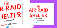 World War Two Air Raid Shelter Display Sign