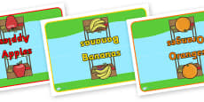 Editable Class Group Table Signs (Fruit)