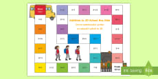 Addition within 20 Bus Board Game English/Romanian