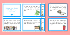 Common Core Division Word Problems Task Cards