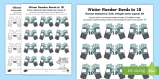 Winter Themed Number Bonds to 10 Activity Sheet English/Polish