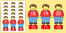 Toy Figure Number Bonds Matching Activity to 30