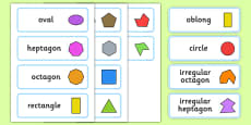 2D Shapes With Irregular Shapes Word Cards