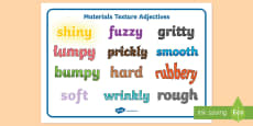 Materials Texture Adjectives Word Mat