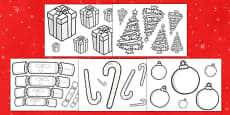 Christmas Themed Size Ordering Objects Colouring Activity Sheets