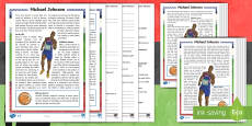 * NEW * KS2 Black History Month Michael Johnson Differentiated Reading Comprehension Activity