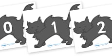 Numbers 0-31 on Black Cats