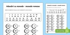 Adunări cu monede romane - Fișă de lucru