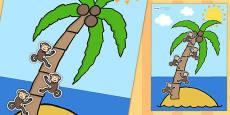 A4 Palm Tree and Monkey 5 Step Reward Chart