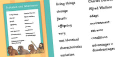 Year 6 Evolution and Inheritance Scientific Vocabulary Poster