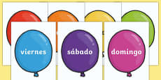 Days of the Week on Balloons (Spanish)