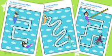 The Little Mermaid Pencil Control Path Activity Sheets