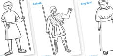 David and Goliath Story Colouring Sheets