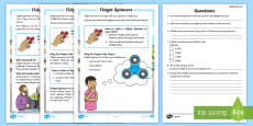 KS1 Fidget Spinners Differentiated Reading Comprehension Activity