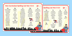 Superhero Themed Spelling List Years 5 and 6
