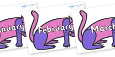 Months of the Year on Purple Cat to Support Teaching on Brown Bear, Brown Bear